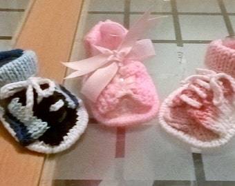 Baby Knitting Pattern Front Lace Up Sandals 0-6mths