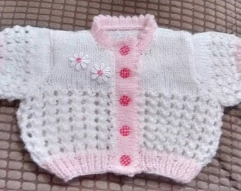 Knitting Pattern Olivia Cardi for Baby Newborn and 0-3 mths