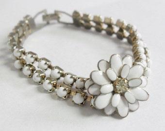 Vintage White Enamel Flower Bracelet