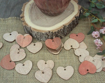 """Adorable Wood Hearts ~ 2"""" ~ With Hole ~ Cute Little Wooden Hearts! Rustic Table Confetti, Wedding Table Scatter, Rustic Wedding Decor"""