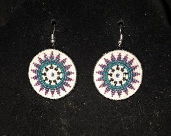 Beaded rosette earrings