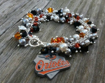 Baltimore Orioles Charm Bracelet, Swarovski crystals, pearls, MLB, handmade jewelry, baseball, Orioles, bracelets
