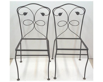 Salterini-Style Iron Chairs, Pair, Dining Side Chairs, Patio Furniture