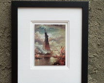 REDUCED Framed Artwork Statue Of Liberty Enlightening the World, New York, Wall Art, Home Decor, Holiday Gift Sets, Custom orders
