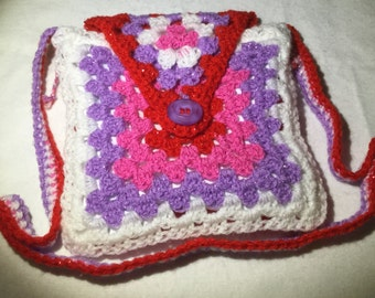 Girls Crochet bag. Minky lined.