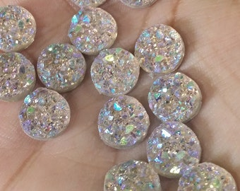 Ab light champagne 10mm faux druzy chunky Cabochons 10pcs (C6:4-242)
