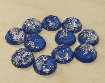 Blue silver leaf 12mm thick faceted resin cabochons -10pcs (F3:10-778)