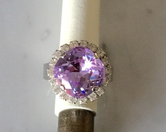 Swarovski Violet and Crystal Ring, Violet Crystal Ring. Swarovski Purple Crystal Ring