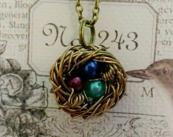Birthstone Birds Nest Necklace, Birdsnest Necklace, Birdnest Necklaces