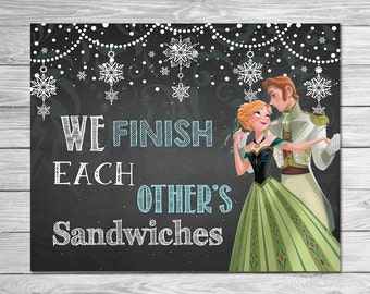 Frozen We Finish Each Others Sandwiches Sign Chalkboard Anna // Frozen Printable Wall Art // Frozen Chalkboard Sign // Frozen Party Favor