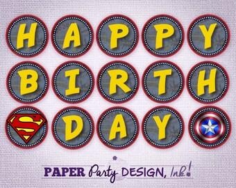 Digital Super Hero Birthday Banner, Super Hero Banner, Superhero Digital Banner, Instant Download Customizable Super Hero Banner