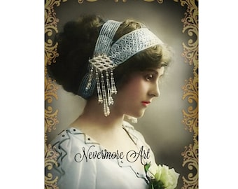 Vintage Portrait Instant Download Art Nouveau Woman Altered Art Image CDV Cabniet Card Photograph Digital