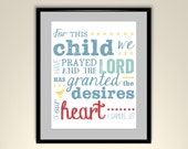 Bible Verse For This Child We Have Prayed 11 x 14 White Poster (Frame Not Included)
