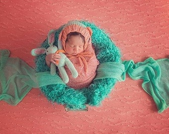 SPECIAL PRICE Bonnets in Aqua, Cream and Dark Orange,All Made in Soft Organic cotton Newborn Photo Prop, Special Price for the 3 of them.