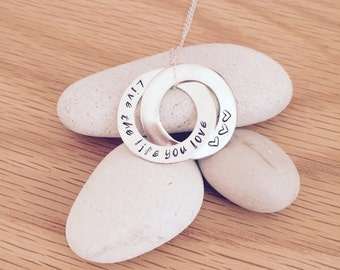 Russian Rings Necklace Sterling Silver Personalised Hand Stamped