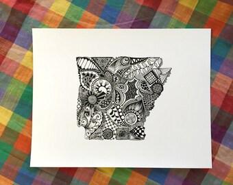Arkansas State Outline Art Print