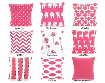 Pink Pillow Covers, Pink Cushions, Decorative Throw Pillows, Stripe Chevron Nursery Pillows Elephants Giraffes or More Mix & Match All Sizes