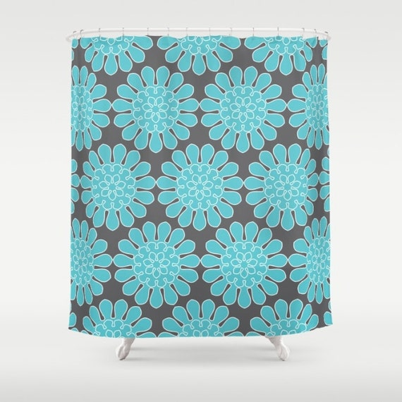 Flower Shower Curtain Blue Green Pink Yellow Purple