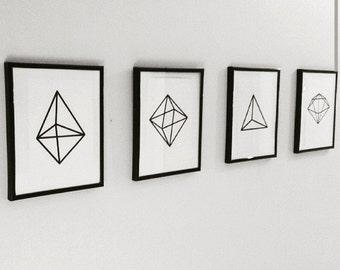 Instant digital download Geometric monochrome printable art, prints, posters, wall art, decor set of 4