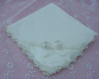 A Lovely Ivory Baby/Receiving Blanket  Cotton Knit.