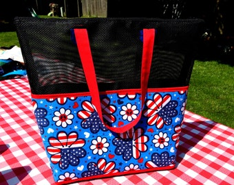 Beach Bag, Patriotic, screen tote, market tote, pool tote, beach tote