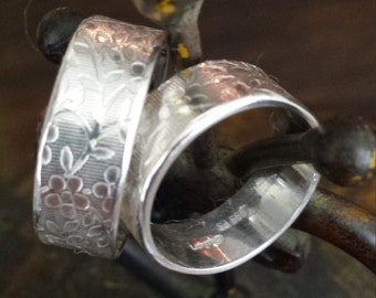 Pure Silver Roman Artisan Inspired Wedding Commitment Bands
