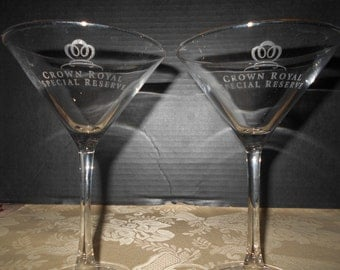 Set of 2. Vintage Crown Royal Special Reserve Martini Glasses.