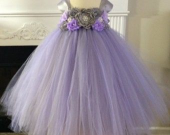 Custom Made Lavender and Lavender Empire  Tutu dress for flower girl tutu dress in sizes from newborn to 14 years old