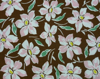 Everything but the Kitchen Sink – Yuko Hasegawa – RJR Fabrics – Pink Flowers on Brown – Quilting Patchwork Fabric FQ