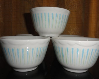 Retro Mid Century Sterling Vitrified China Set of 5 East Liverpool Ohio USA E-10 Blue/Green Restaurant-ware Custard Cup Dishes