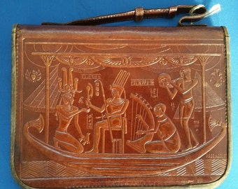 Beautiful vintage embossed leather clutch bag.  Egyptian Scenes.