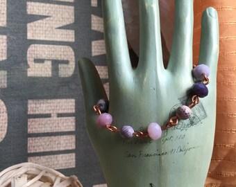 Wire Work Bracelet / Purple Jewelry / Copper Wire Jewelry