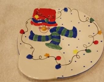 Vintage snowman decorative christmas plate
