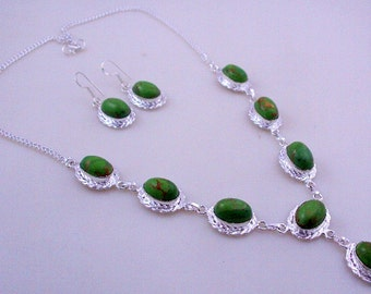 38 Gr. Green Copper Turquoise Stone .925 Silver Handmade Jewelry Necklace (Jh-84)
