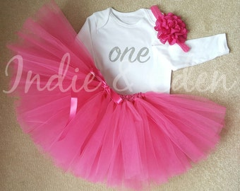 Baby girls 1st Birthday tutu birthday pink personalised white silver one set photo prop cake smash