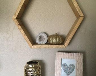 Wood hexagon shelf, hexagon shelves, geometric shelf, wall decor, wall hanging