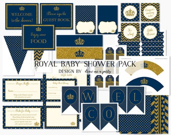 ROYAL PRINCE BABY Shower Decorations , Royal Prince Baby Shower Printables , Navy Blue and Gold , Banner Cupcake Topper Wrapper Sign Cards