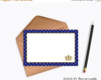 ON SALE Prince Thank You Notes , Royal Blue and Gold Thank You Cards , Prince Notes , Prince Birthday Party , Printable , Instant Download