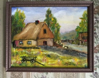 "OLD COTTAGE original oil painting on stretched canvas, 8""x10"", framed"