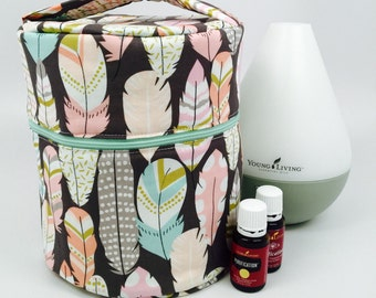 Essential Oil Diffuser Case/Bag for travel and storage with interior pockets for your oils! Holds: Dewdrop, Rainstone, Home Diffuser, Etc...