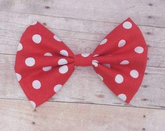 Red & White Polka Dot Hair Bow Clip / Polka Dot Hair Bow / Red Hair Bow / Red Polka Dot Hair Clip / Minnie Mouse Hair Bow / Minnie Hair Bow