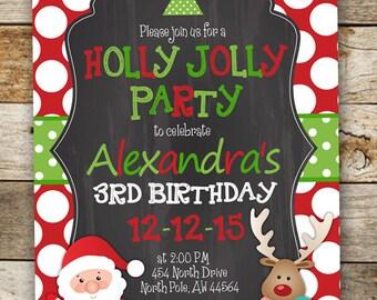 Christmas Birthday Invitation - Santa Invitation - Reindeer Invitation - Kids Birthday Invitation