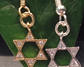 CZ Star of David Dangle Earring in Gold Plated or Silver Plated. Crisp And Clean! Bat Mitzvah, Jewish Jewelry, Jewish Star Dangle Earrings