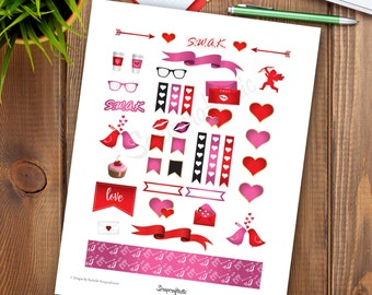 SWAK Printable Planner Stickers | Valentine Printable Graphics for Scrapbooking and Crafting
