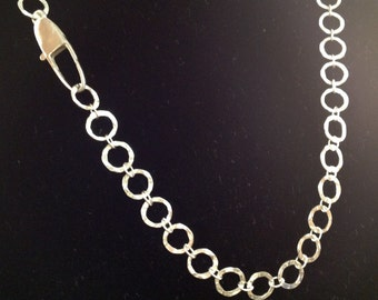 sterling silver hammered chain necklace.