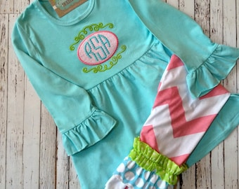 Girl's Outfit, Spring Outfit, Girls Monogram Outfit, Applique Shirt, Girls Tunic Boutique Clothes, Ruffle Pants, Boutique Clothes, Spring