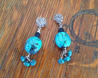 Natural Turquoise Post Scroll Stud Earrings Set in Sterling Silver with Black Wood Beads