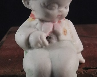 antique german porcelain figure ,doll, sitting on edge , boy, googly, 2.8""