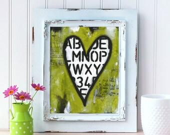 Heart Art Print. Mixed Media Heart Painting. Whimsical Heart Wall Art. Green Wall Art. Gift for Him. Gift for Husband. Romantic Gift.