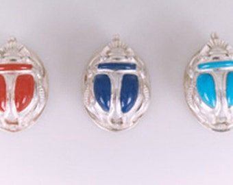 Egyptian Silver Scarab with Colored Stone Pendant - Scarab Necklace